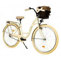 """Mestský retro bicykel 1-prevodový LUX MILORD 28 """" cream cappuccino"""