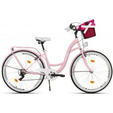 """Mestský retro bicykel 7-prevodový LUX MILORD 26 """" ružový"""