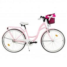 """Mestský retro bicykel 3-prevodový LUX MILORD 28 """"ružový"""
