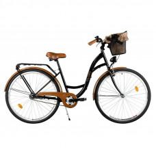 """Mestský retro bicykel 3-prevodový LUX MILORD 26 """" čierno-hnedý"""