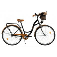 """Mestský retro bicykel 1-prevodový LUX MILORD 26 """" čierno-hnedý"""