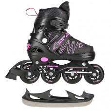 Kolieskové korčule 2v1 NILS Extreme NH11912 A - ružové