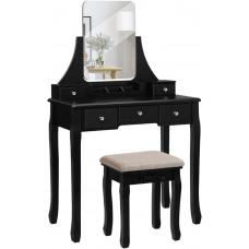 Toaletný stolík VASAGLE s veľkým bezrámovým zrkadlom - RDT25BK