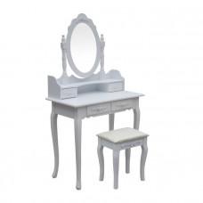 Kozmetický toaletný stolík so zrkadlom a stoličkou