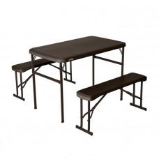 Zostava 2 lavičiek + stola LIFETIME 80424 - hnedá