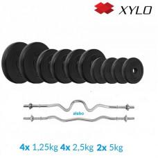 Nakladací činkový set Xylo solid 33 KG